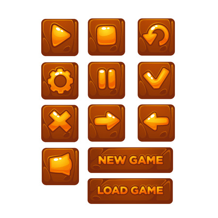 Mobile Game UI, vector collection of icons, and buttons, cartoon style 向量圖像