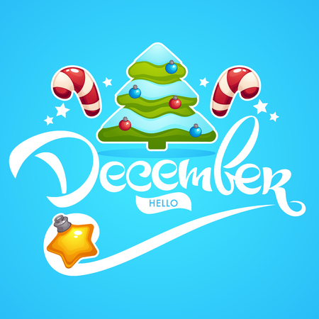 hello December, bright Christmas tree, decoration balls, lollipops and lettering composition flyer or banner template 向量圖像