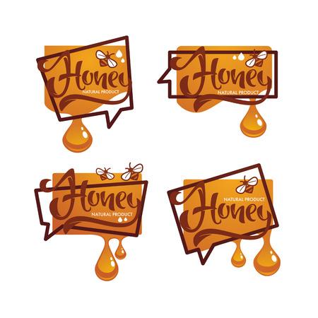 Natural  Honey, sticker, symbol, logo, label, emblem with hand drawn lettering composition