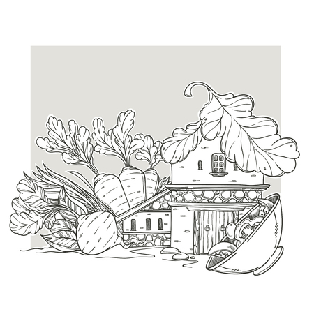 Vegan House, Lovely Cartoon Home, Made From carrot, root, salad and green onion, Page For Your Coloring Book Ilustração