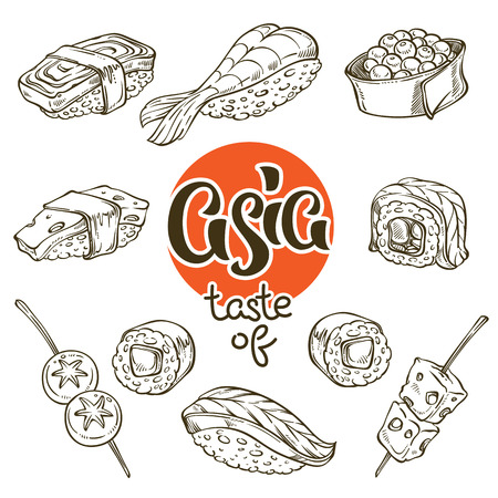 asian food, sushi and japanese snack lineart, doodle, sketch collection for your coloring book