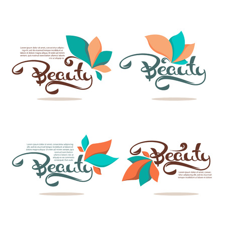 Beauty and Spa logo with simple floral elements and lettering composition Illustration