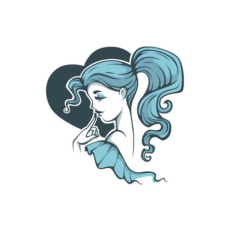 Cute cartoon girl with blue hair, on heart shape background for your logo, label, emblem