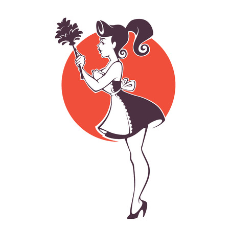 retro sexy pinup housemaid, cleaning emblem, logo, label