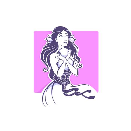 fortune teller, beautiful shaman girl reading future on crystal ball