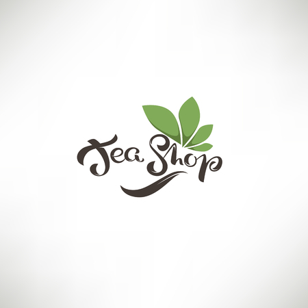 Tea Shop, lettering composition and green leaves for your logo, label, emblems