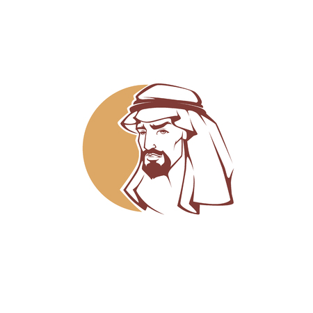 handsome arabian man for your logo, label, emblem