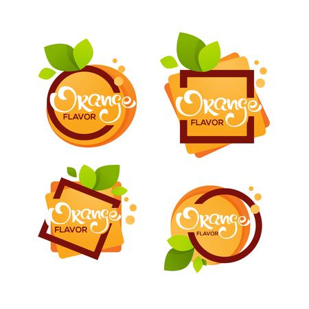 bright sticker, emblem and logo for orange citrus fruit fresh juice flavor