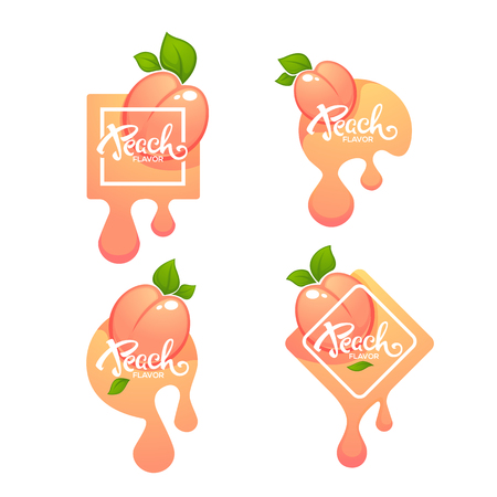 Sweet Peach Flavor. Vector label or sticker and labels