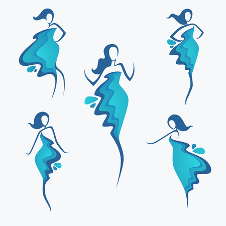 vector collection of water dress  girl's silhouette, for fashion, beauty and spa salon