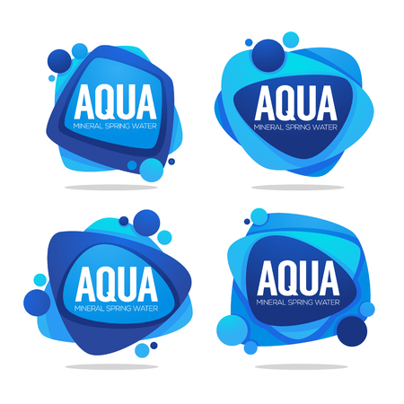 natural spring water, vector  logo, labels and stickers templates with aqua drops Çizim
