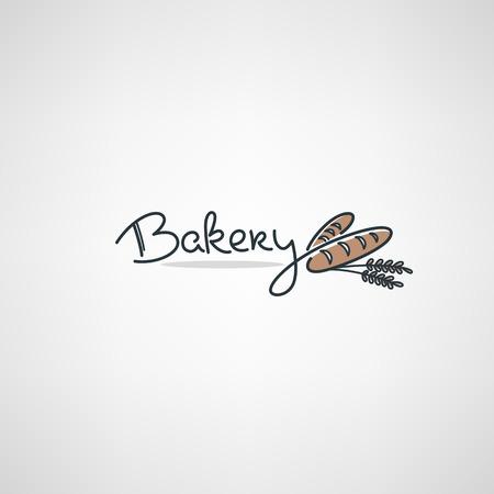 Modello di design del logo da forno con immagini di pane scarabocchiato e composizione di lettere Logo