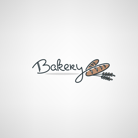 Bakery Logo design template with doodle bread images and lettering composition
