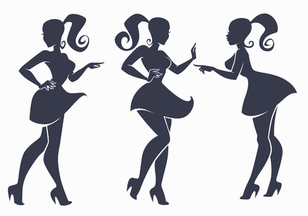vector collection of fashion girls  silhouette in retro style