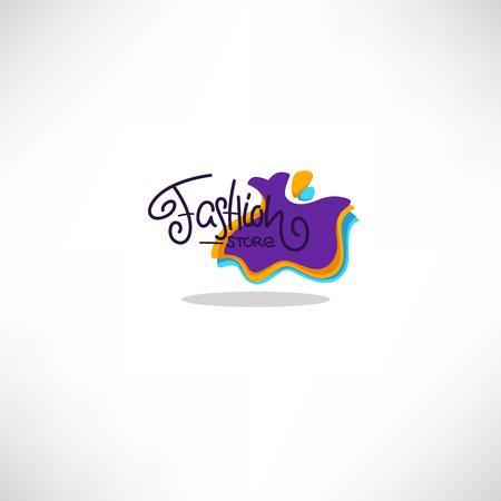 boutique di moda e logo del negozio, etichetta, emblema con abito a palloncino luminoso e composizione scritta Logo