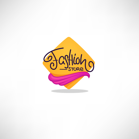 Fashion Store logo, geometrical baclground, hand drawn  doodle lettering and fabric