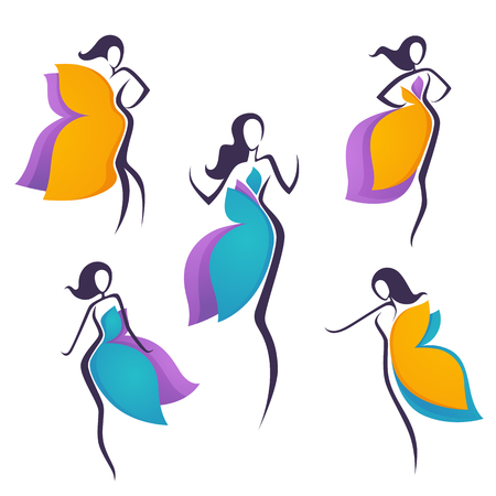 vector collection of girls look like a bright flowers or butterfly wing dress for your logo Illustration