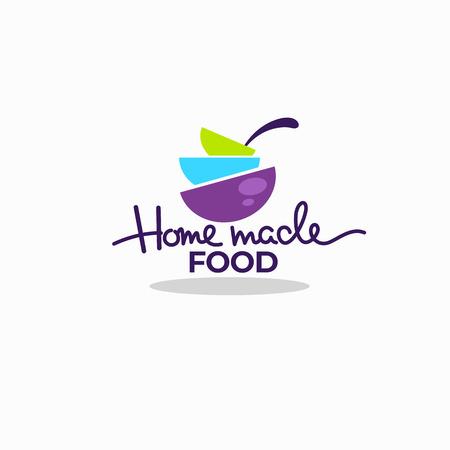 cocine comida casera, tazones de sopa de colores para su menú, logotipo, emblemas y símbolos Logos