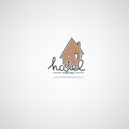 Hostel For You, plantilla de logotipo en estilo doodle