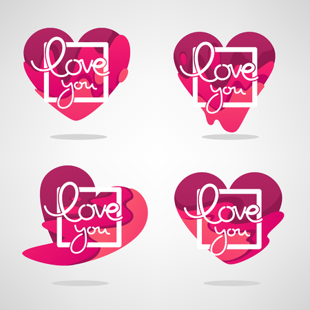 vector collection of heart, and love logo, concept, labels and forms with Love You lettering frame Ilustração