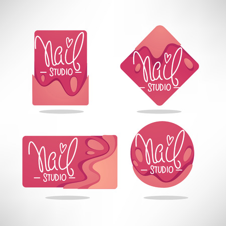 vector logo template for your Nail Studio and manicure salon with doodle lettering composition Stock fotó - 116940542