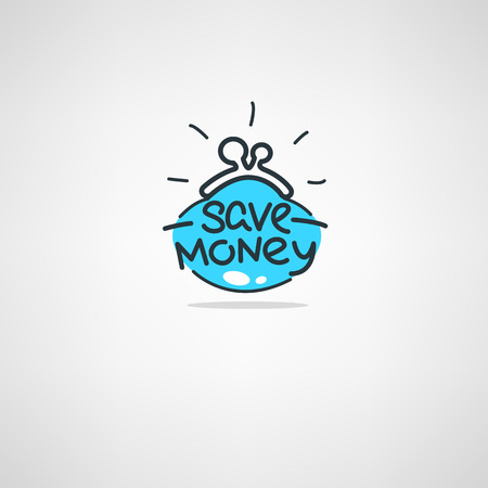 money saving, vector  doodle atr icon, label, emblem, logo with hand drawn lettering Illustration