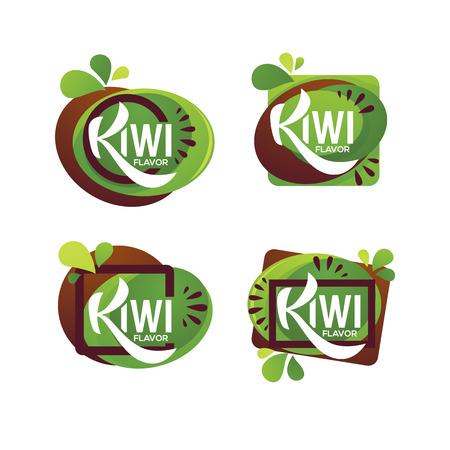 bright sticker, emblem and logo for kiwi fruit fresh juice flavor Logo