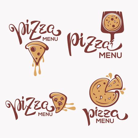 Pizza Menu, pizza slice with lettering composition for yout logo, emblem, label