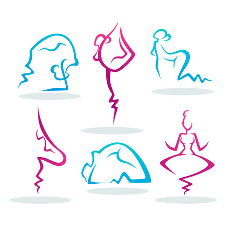 Abstract  People Silhouette Doing Yoga for Your Logo