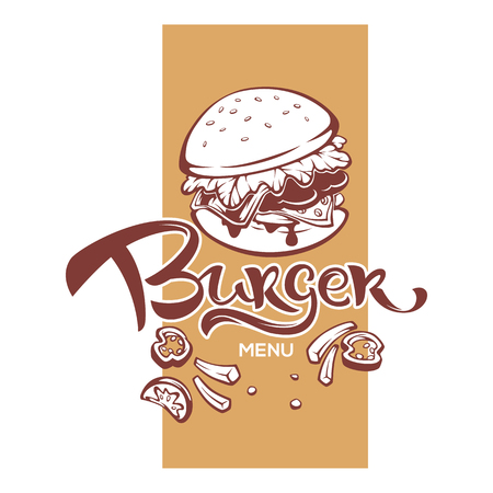 Burger Menu, Humburger Image With Lettering Composition For Yuor Fastfood Restaurant