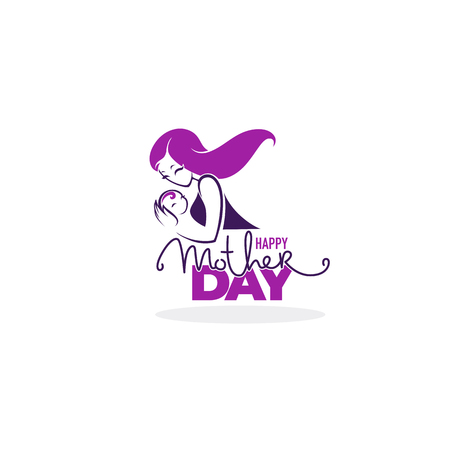 mothers love, vector  logo symbol and emblem  for mother day greeting Banco de Imagens - 118853394