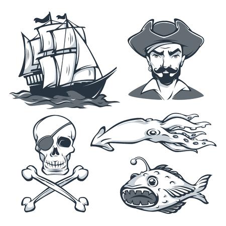 Historical Sailor Vector collection for your Retro Loro. Label, Design, Images Of Fish, Kraken, Ship and Pirat