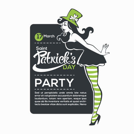Saint Patric Day Party invitation with pinu, irish girl