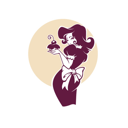 piękna retro pinup kreskówka dziewczyna trzyma pyszne smaczne ciasto