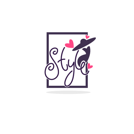 fashion boutique and store label, emblem with  fashionable woman silhouette and lettering composition