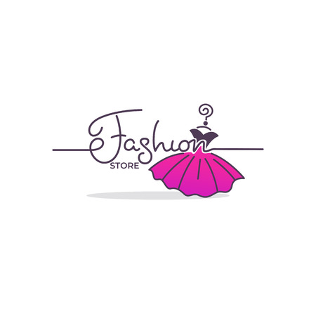 fashion boutique and store label, emblem with bright balloon dress and lettering composition