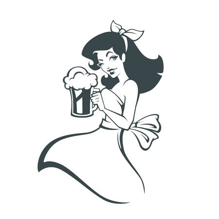 girl and beer,  outline image for your bar or pub sticker design