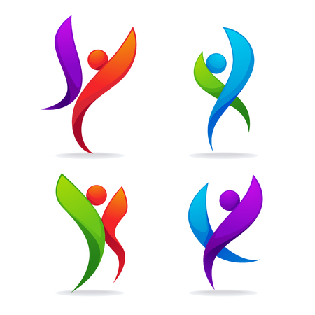 collection of abstract sportive people in dancing poses, for your logo and emblem 向量圖像