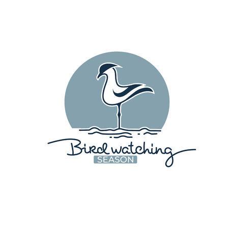 bird watching logo, label, emblem for your outdoor activity project Illustration