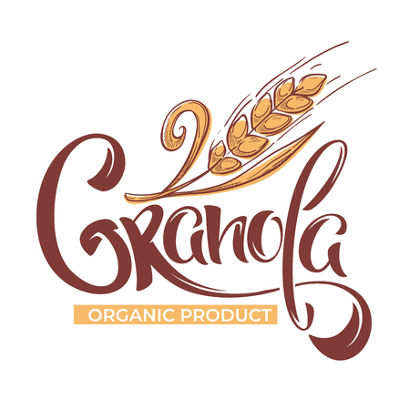Granola logo template with calligraphy lettering composition and grain sketch images