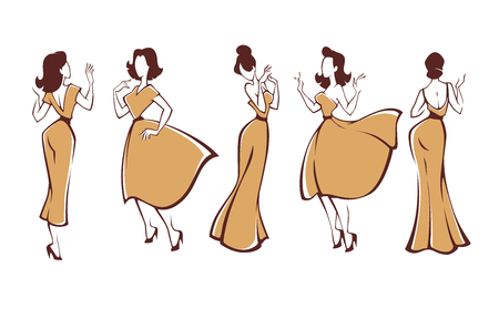 new look girls, vector collection of girls in retro style dresses , labels, emblems