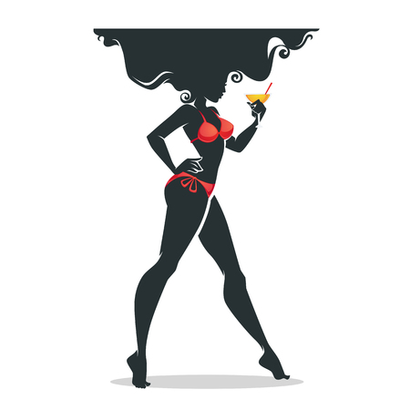The hot summer, beautiful girl in bikini drinking the cocktail, vector background 向量圖像