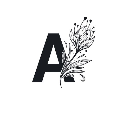 A letter, decorative vector for your alphabet logo, with floral blossosm elements