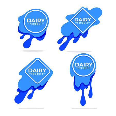 dairy product, milk, cream ,  set of logo, label, emblem template design with lettering composition 向量圖像