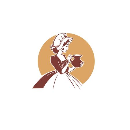 milk and daidry product logo template design with vector portrait of lovely medieval milk lady holding a milk jug