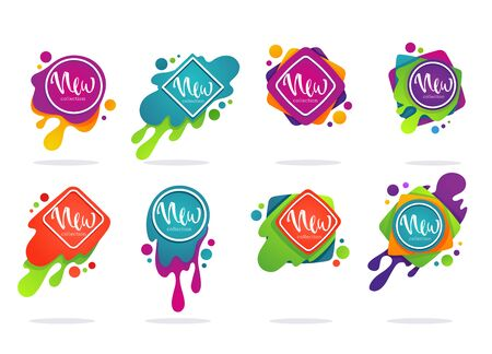large set of new collection arrivals, vector collection of vibrant bubbles with calligraphy lettering for your marketing promotion