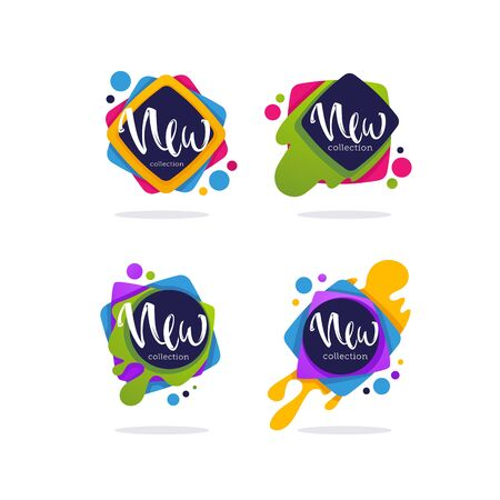 new collection arrivals, vector collection of vibrant bubbles with calligraphy lettering for your marketing promotion Archivio Fotografico - 131809371