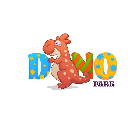 funny cartoon baby dinosaur and bright lettering, for your dino park logo Illustration