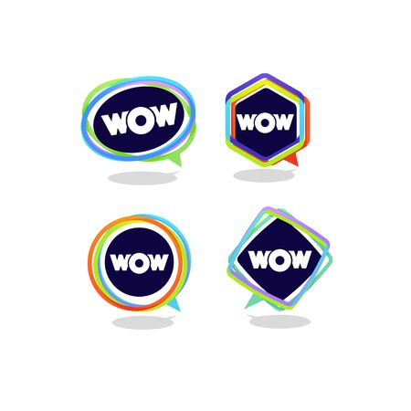 modern, vibrant and bright speech bubbles with emotional wow word 向量圖像