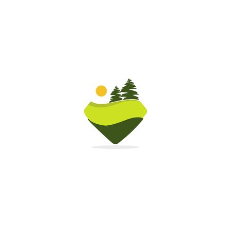 Green Forest, vector logo, label , sticker template for your design